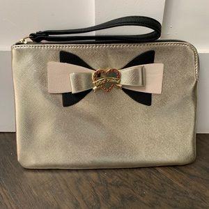 Betsey Johnson metallic gold w/ bow clutch